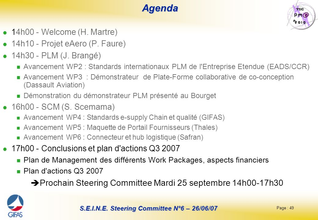 Agenda Prochain Steering Committee Mardi 25 septembre 14h00-17h30