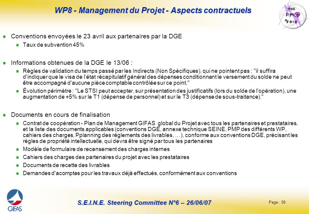 WP8 - Management du Projet - Aspects contractuels