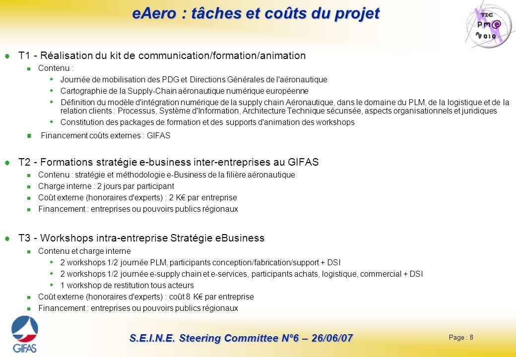 eAero : tâches et coûts du projet