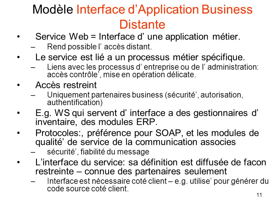 Modèle Interface d'Application Business Distante