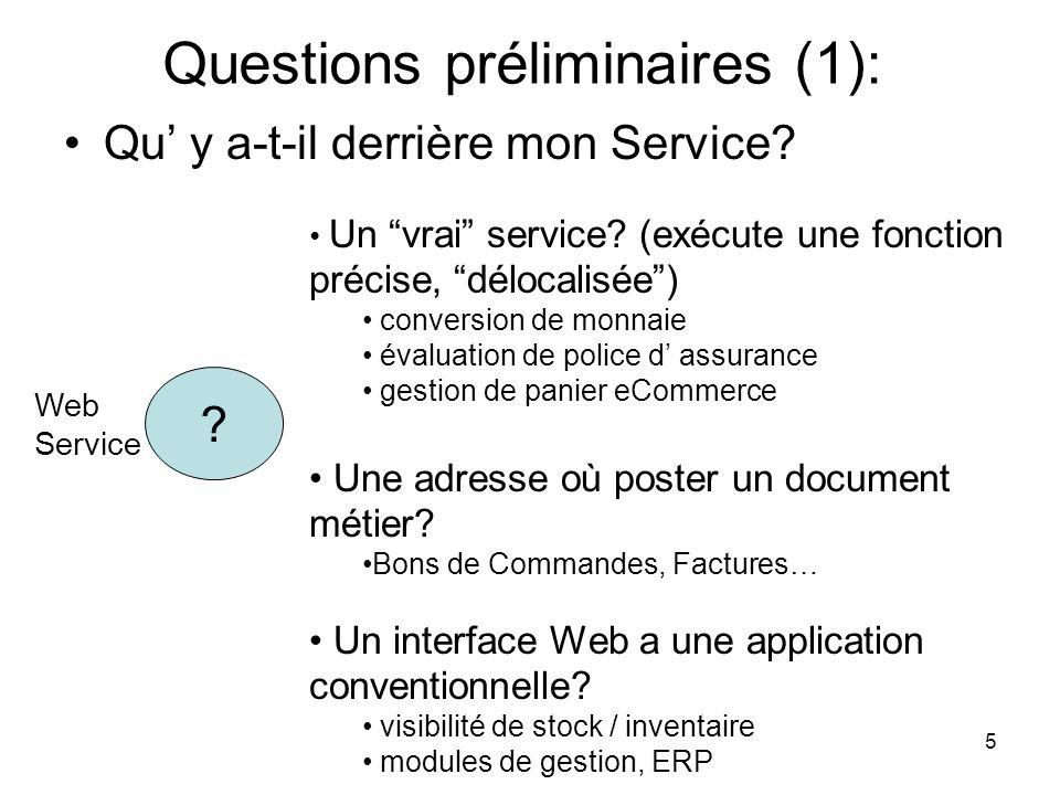 Questions préliminaires (1):