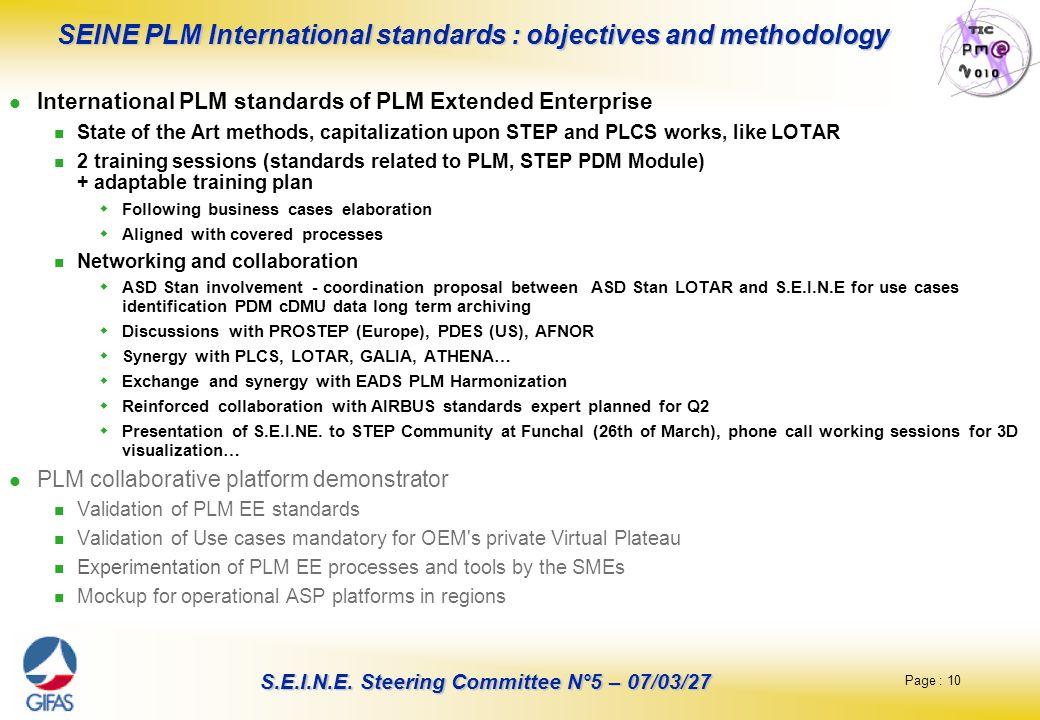 SEINE PLM International standards : objectives and methodology