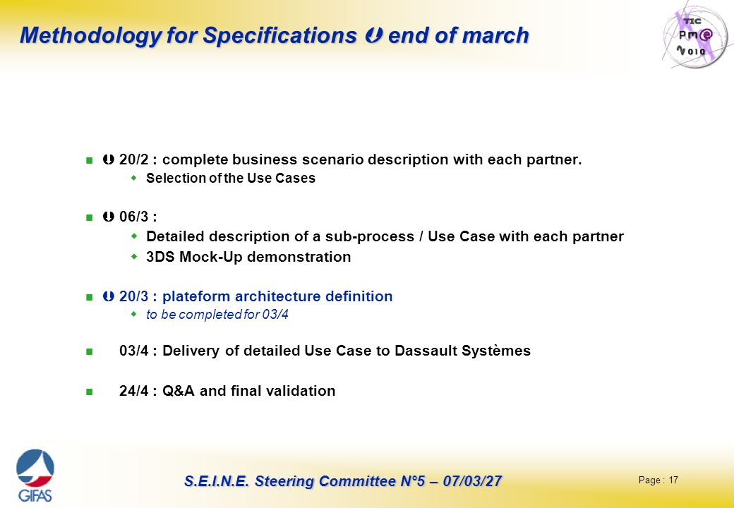 Methodology for Specifications  end of march