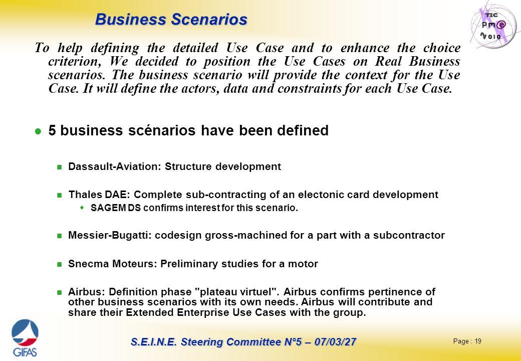 Business Scenarios 5 business scénarios have been defined