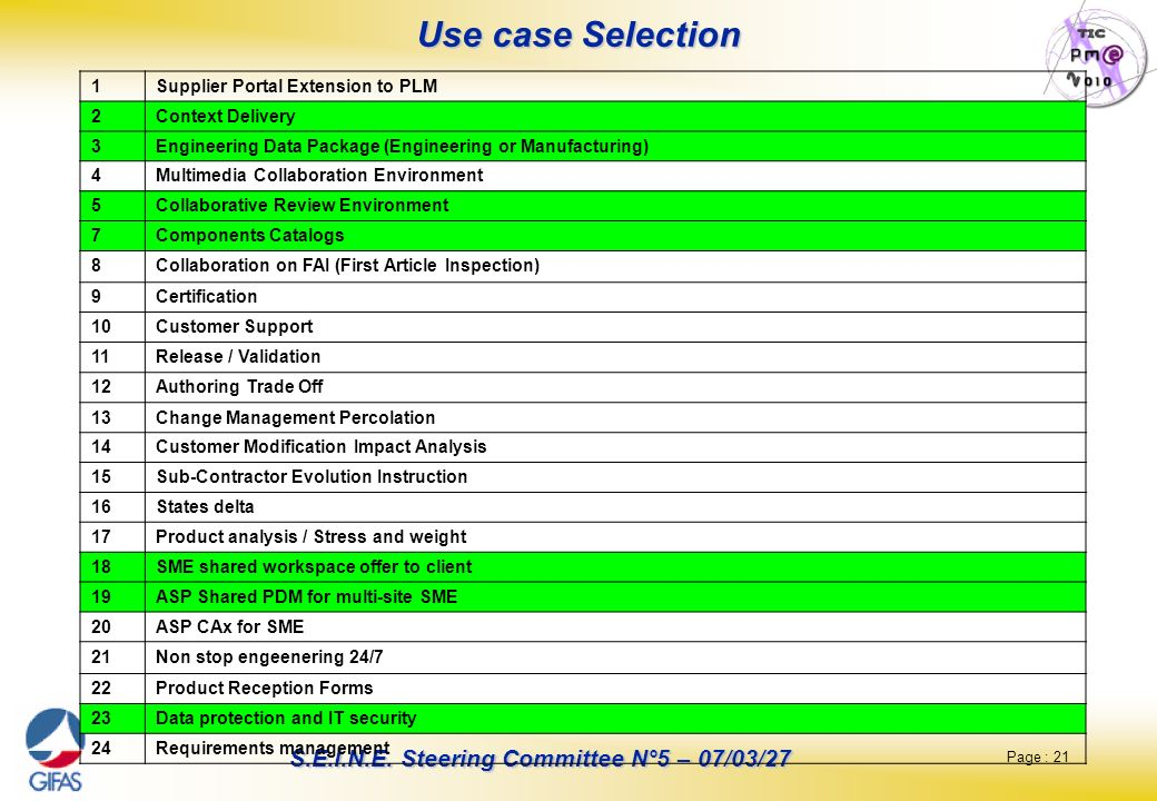Use case Selection 1 Supplier Portal Extension to PLM 2