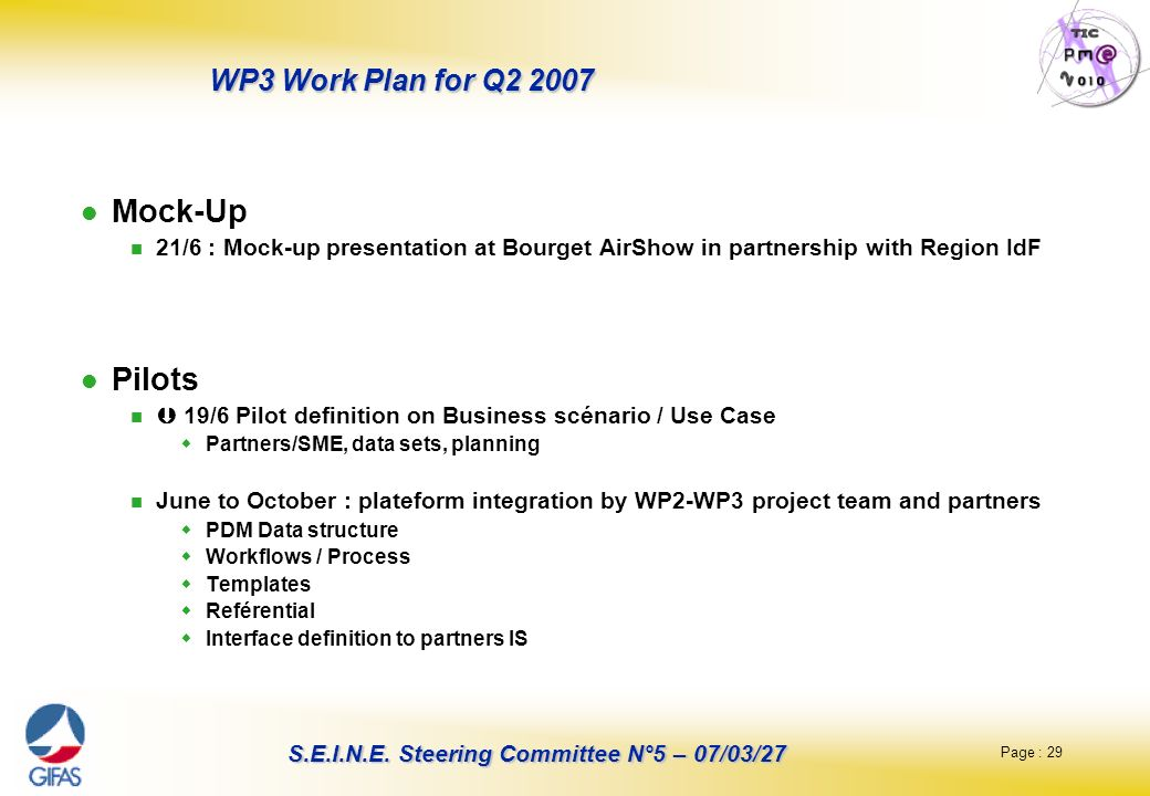 Mock-Up Pilots WP3 Work Plan for Q2 2007