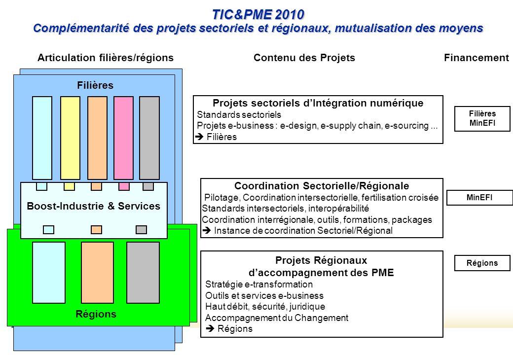 TIC&PME 2010 Complémentarité des projets sectoriels et régionaux, mutualisation des moyens