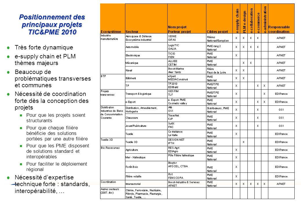 Positionnement des principaux projets TIC&PME 2010