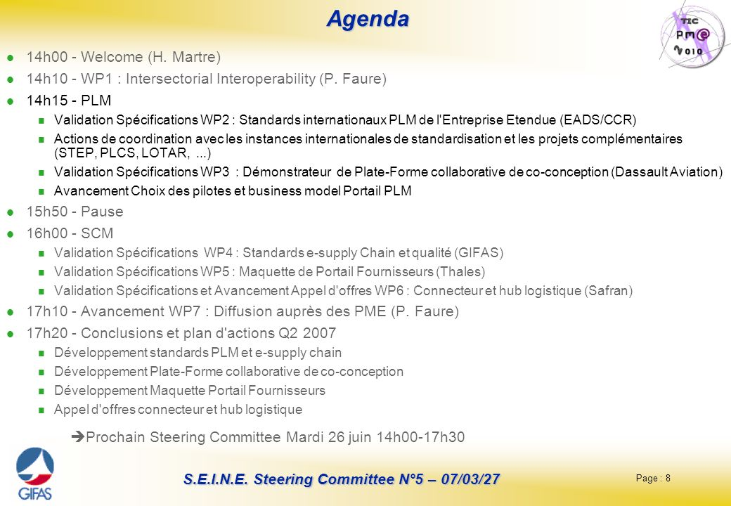 Agenda Prochain Steering Committee Mardi 26 juin 14h00-17h30