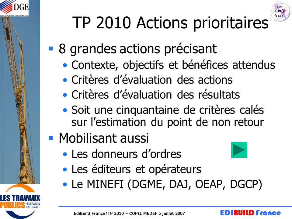 TP 2010 Actions prioritaires
