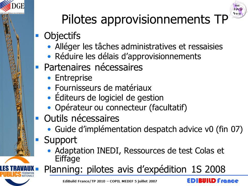 Pilotes approvisionnements TP