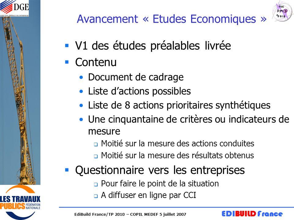 Avancement « Etudes Economiques »