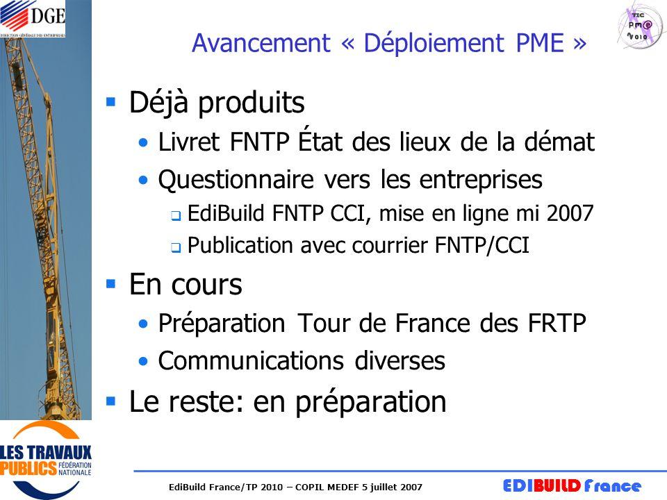 Avancement « Déploiement PME »