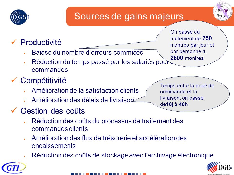 Sources de gains majeurs
