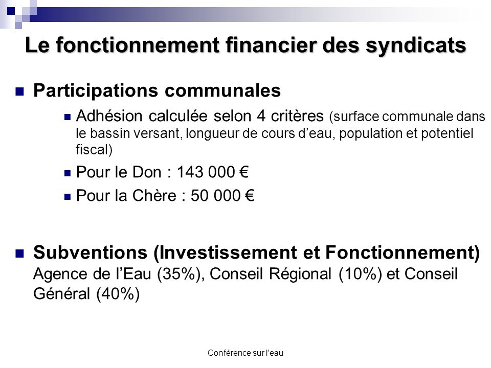 Le fonctionnement financier des syndicats