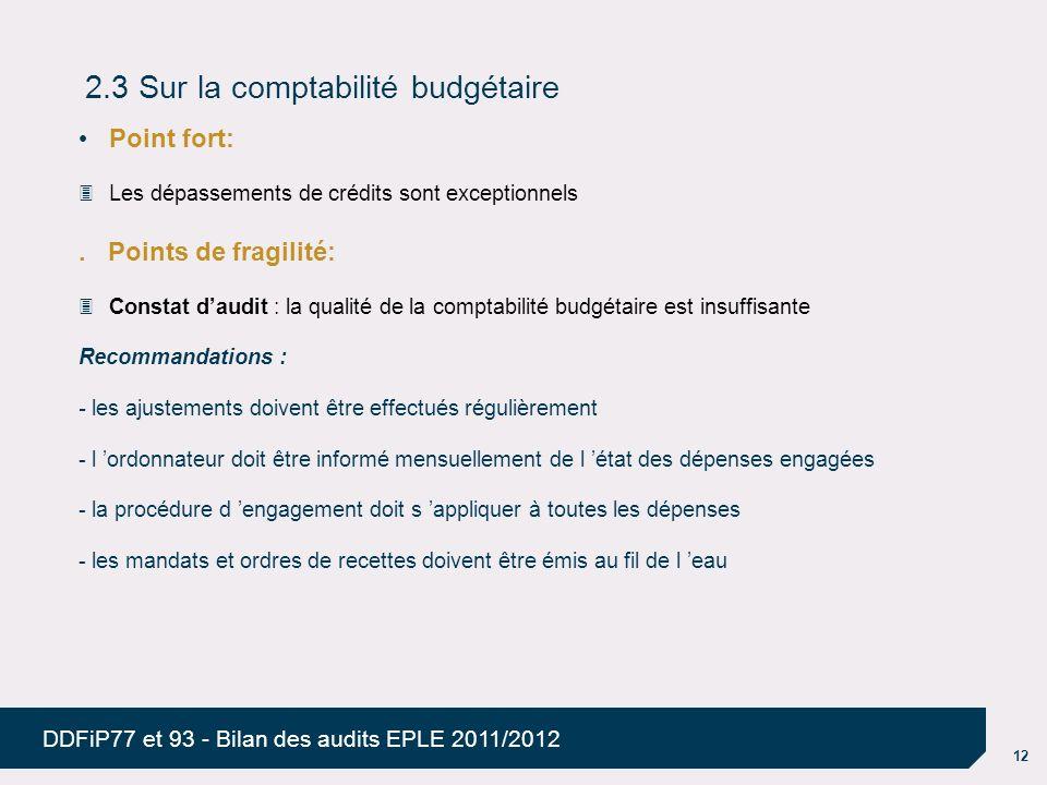 2.3 Sur la comptabilité budgétaire