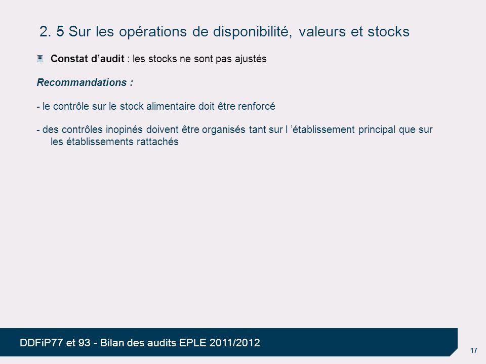 2. 5 Sur les opérations de disponibilité, valeurs et stocks
