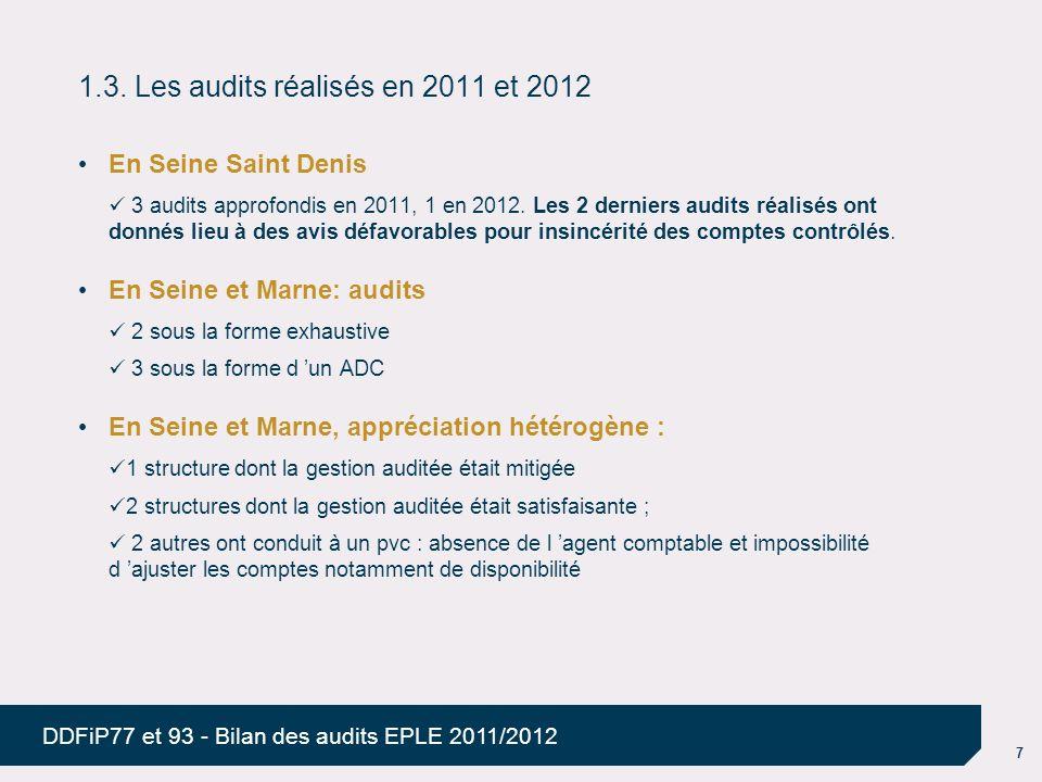 1.3. Les audits réalisés en 2011 et 2012