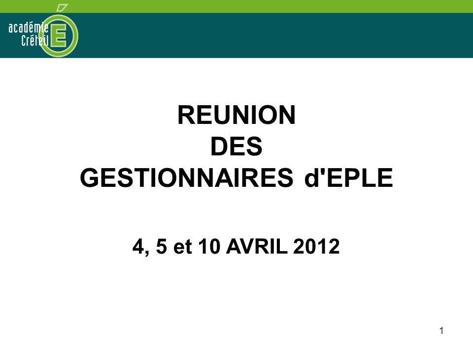 REUNION DES GESTIONNAIRES d EPLE