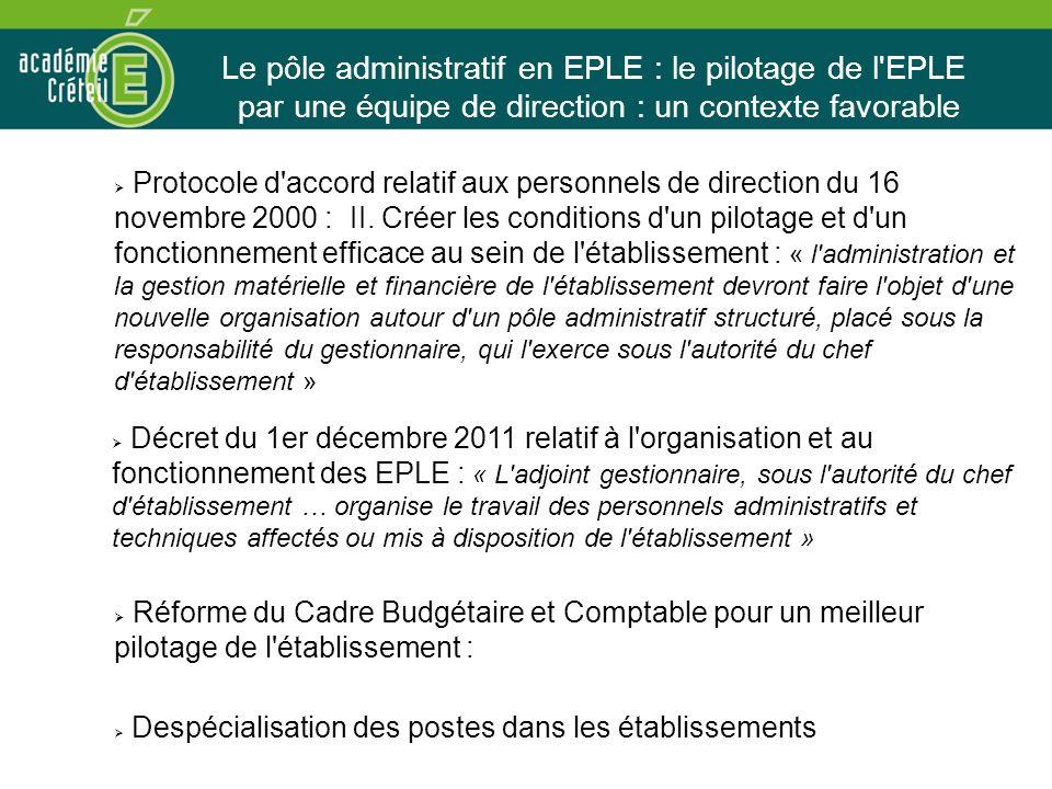 Le pôle administratif en EPLE : le pilotage de l EPLE