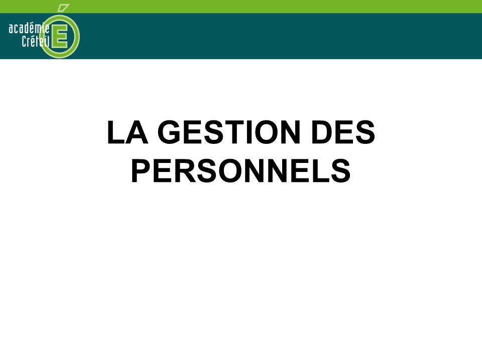 LA GESTION DES PERSONNELS