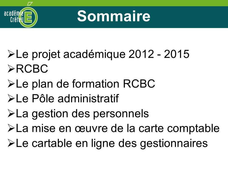 Sommaire Le projet académique 2012 - 2015 RCBC