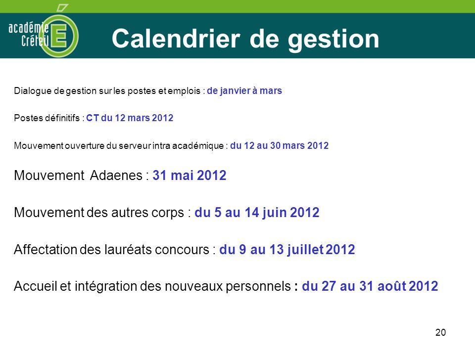 Calendrier de gestion Mouvement Adaenes : 31 mai 2012