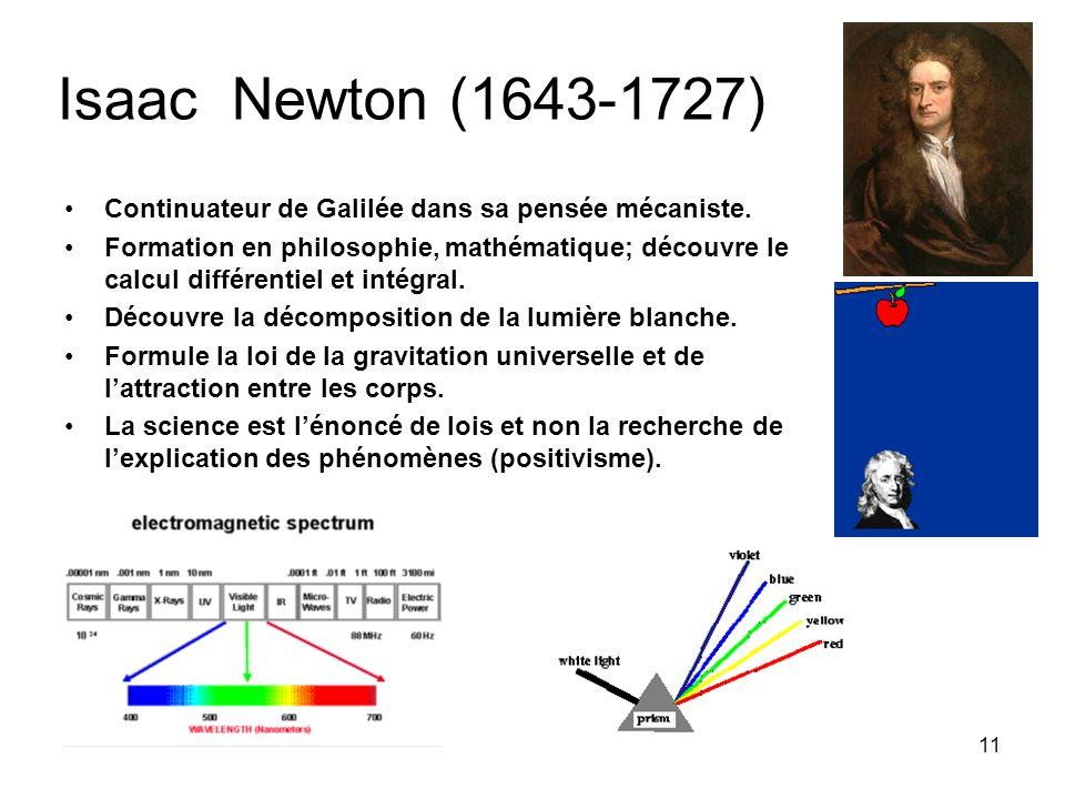 Isaac Newton (1643-1727) Continuateur de Galilée dans sa pensée mécaniste.