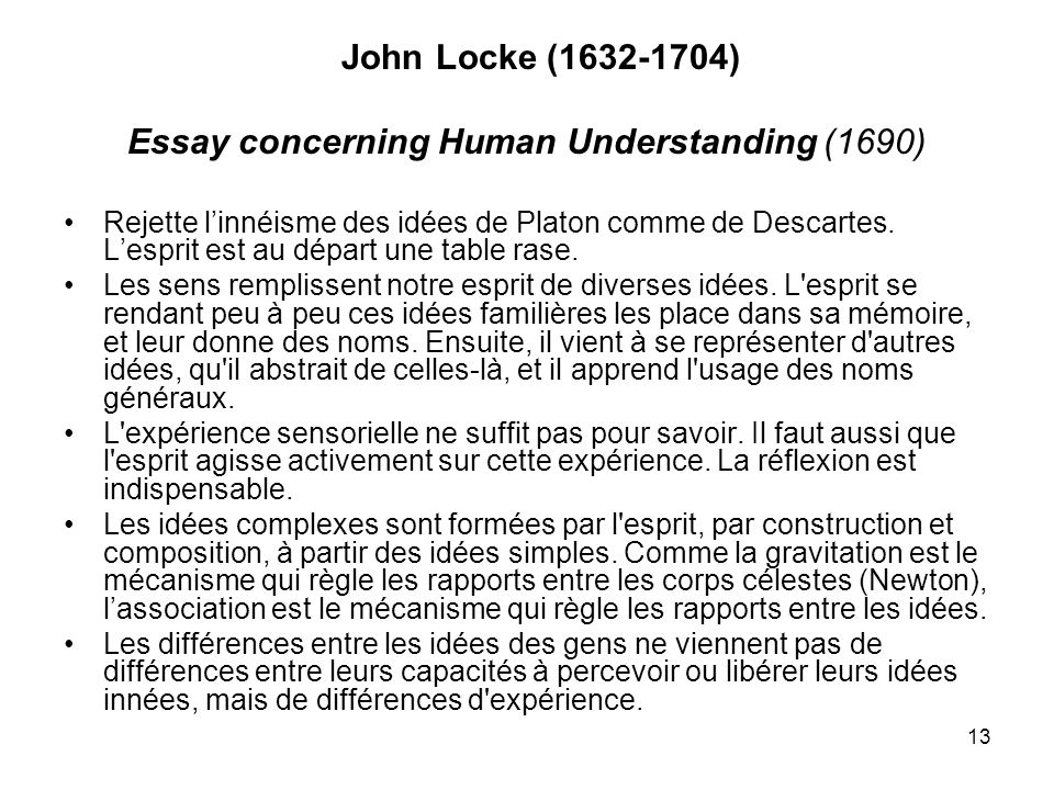 locke essay concerning human understanding online John locke's classic work an essay concerning human understanding laid the foundation of british empiricism and remains of enduring interest today rejecting doctrines of innate principles and ideas, locke shows how all our ideas, even the most abstract and complex, are grounded in human experience--attained by sensation of.