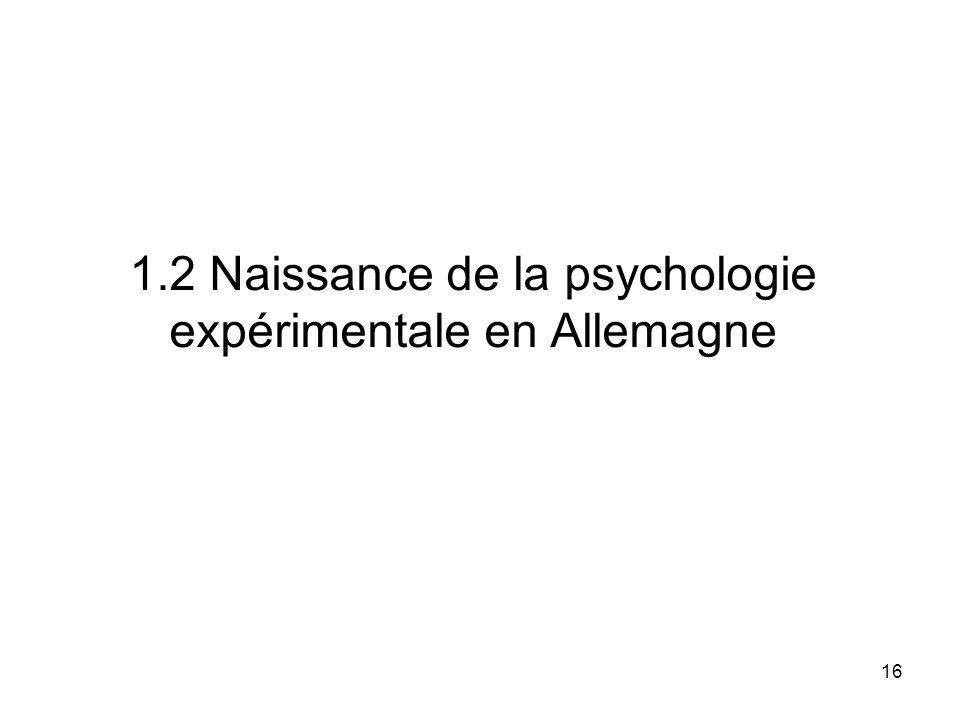 1.2 Naissance de la psychologie expérimentale en Allemagne
