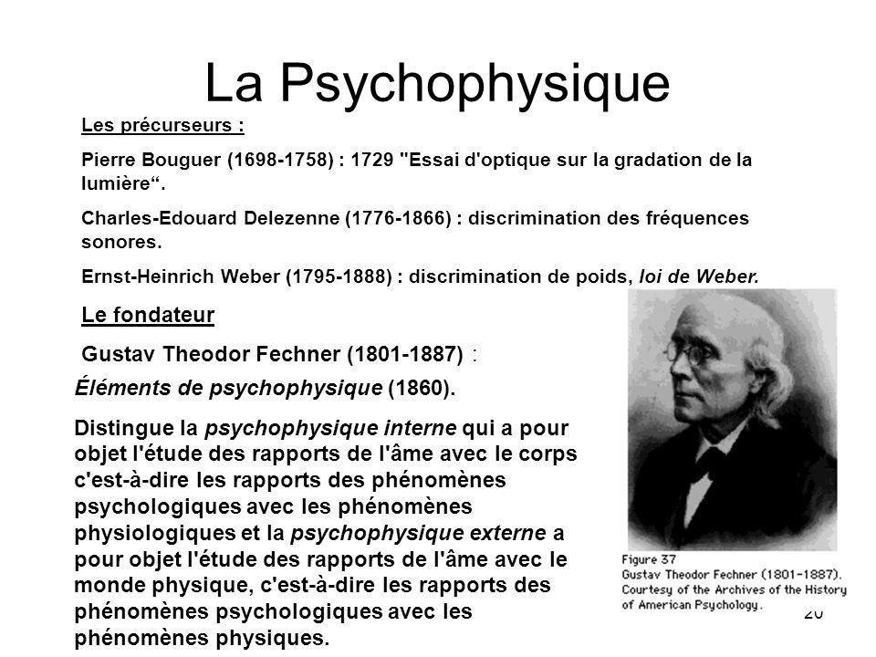 La Psychophysique Le fondateur Gustav Theodor Fechner (1801-1887) :