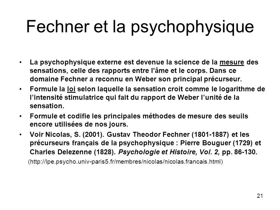 Fechner et la psychophysique