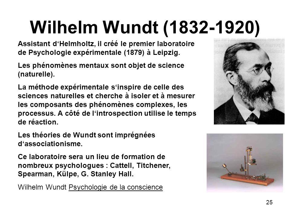 Wilhelm Wundt (1832-1920) Assistant d'Helmholtz, il créé le premier laboratoire de Psychologie expérimentale (1879) à Leipzig.
