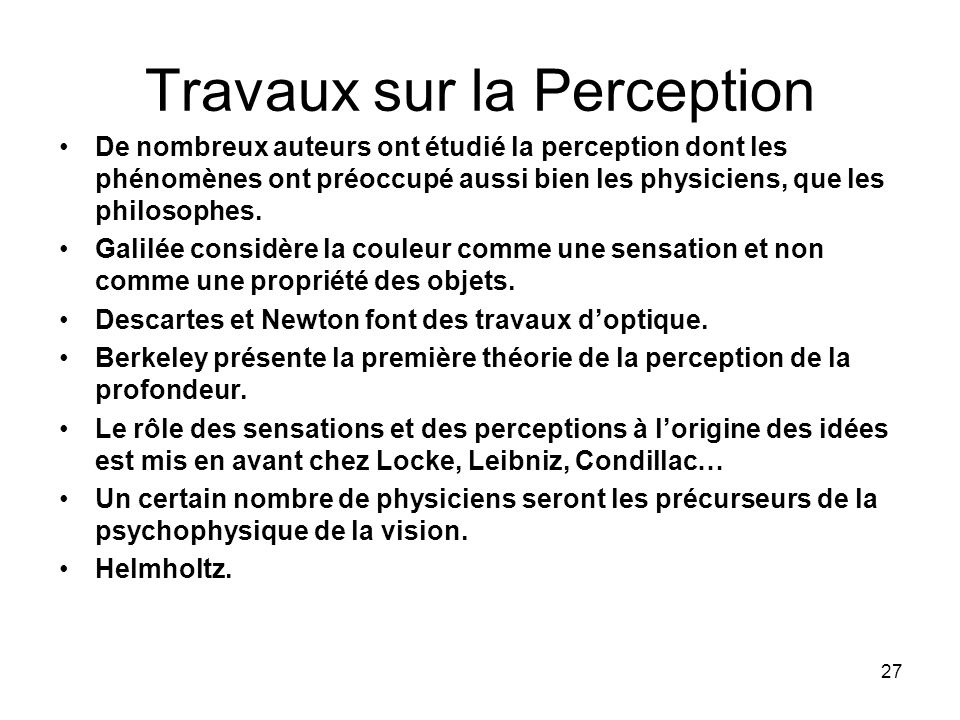 Travaux sur la Perception