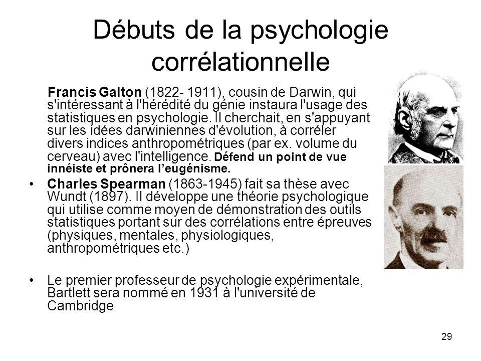 Débuts de la psychologie corrélationnelle
