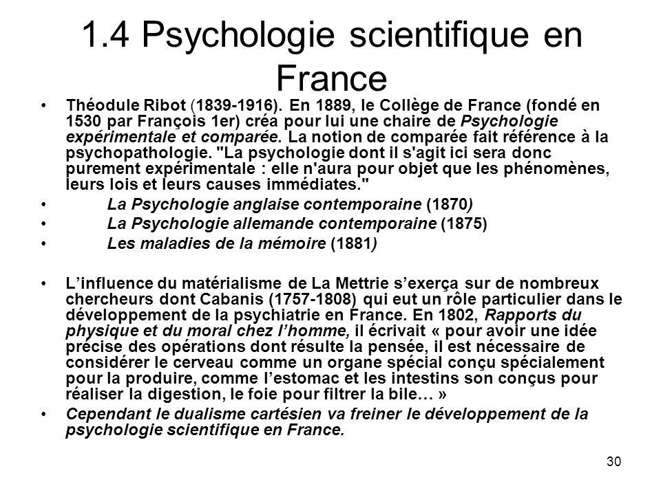 1.4 Psychologie scientifique en France