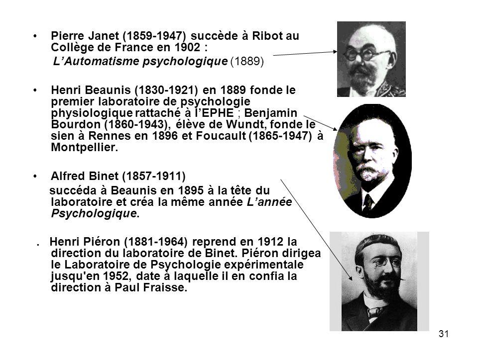 Pierre Janet (1859-1947) succède à Ribot au Collège de France en 1902 :