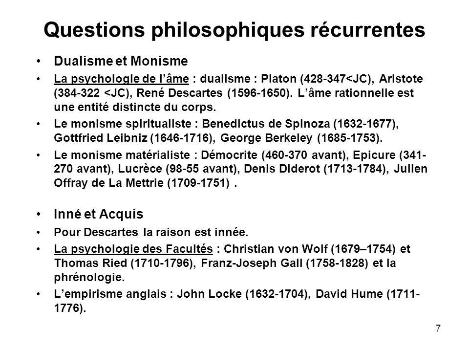 Questions philosophiques récurrentes