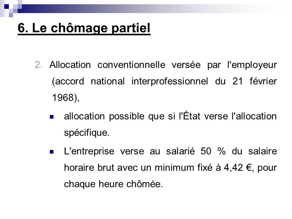 6. Le chômage partiel 2. Allocation conventionnelle versée par l employeur (accord national interprofessionnel du 21 février 1968),