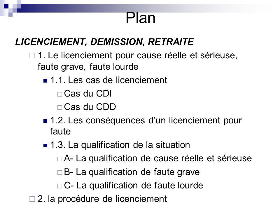 Plan LICENCIEMENT, DEMISSION, RETRAITE