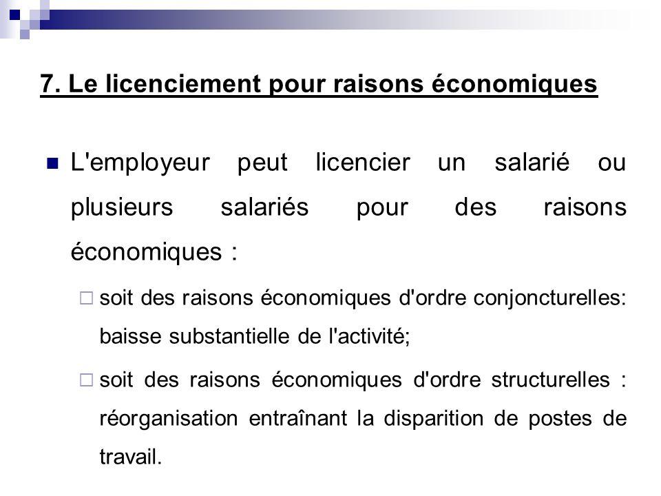 7. Le licenciement pour raisons économiques