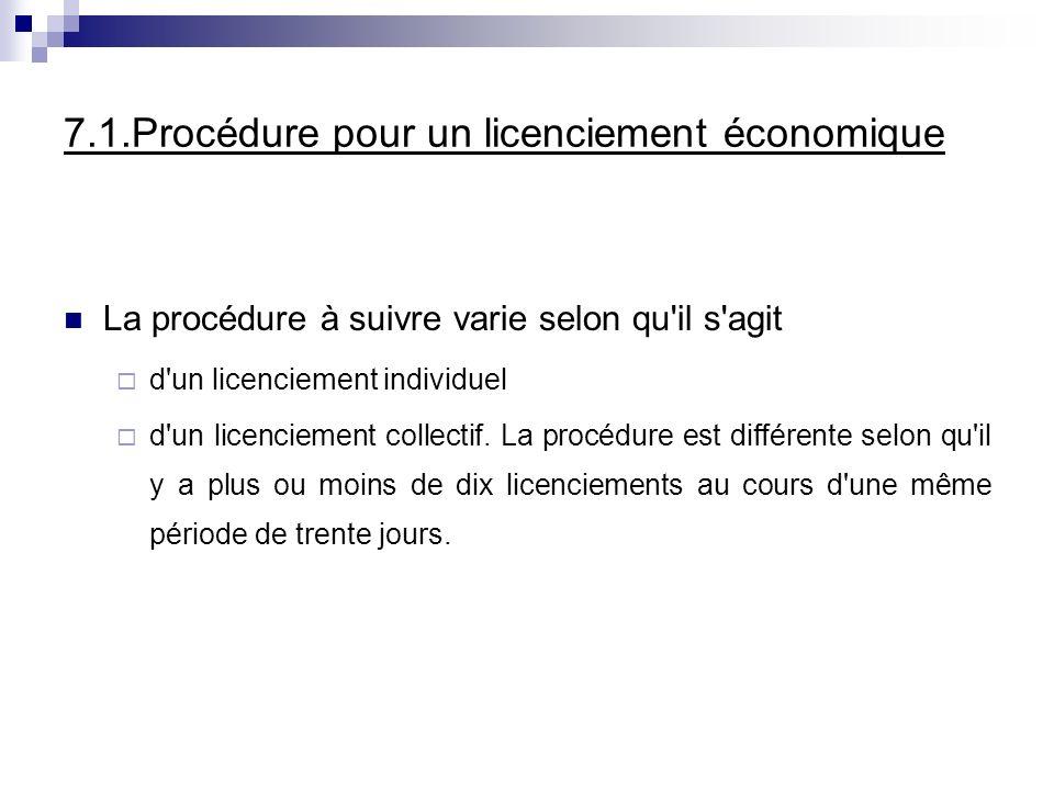 7.1.Procédure pour un licenciement économique