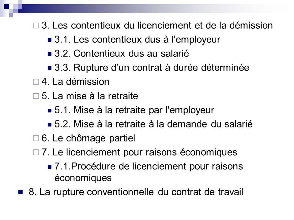 3. Les contentieux du licenciement et de la démission