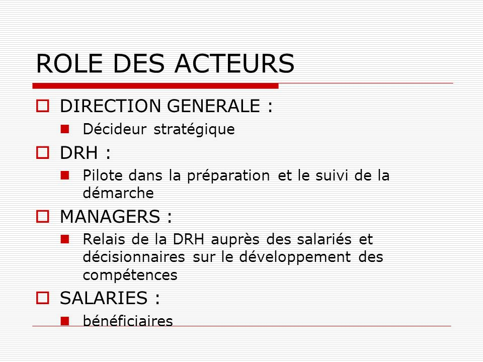 ROLE DES ACTEURS DIRECTION GENERALE : DRH : MANAGERS : SALARIES :