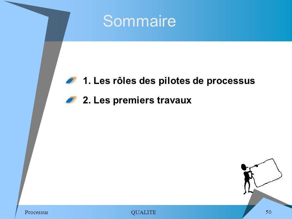 Sommaire 1. Les rôles des pilotes de processus 2. Les premiers travaux