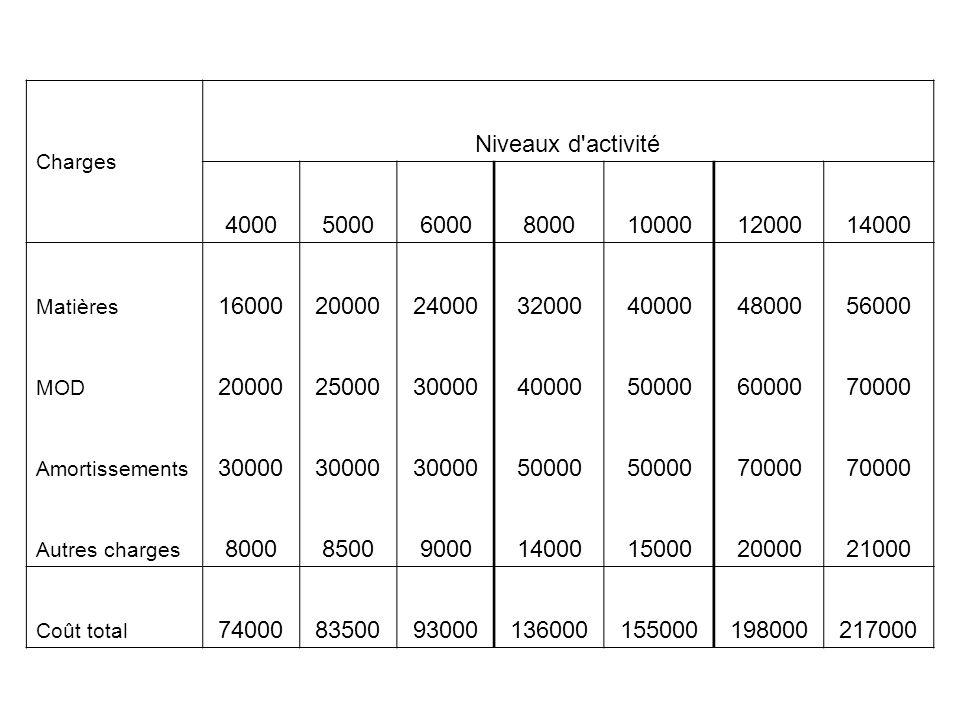 Charges Niveaux d activité. 4000. 5000. 6000. 8000. 10000. 12000. 14000. Matières. 16000. 20000.