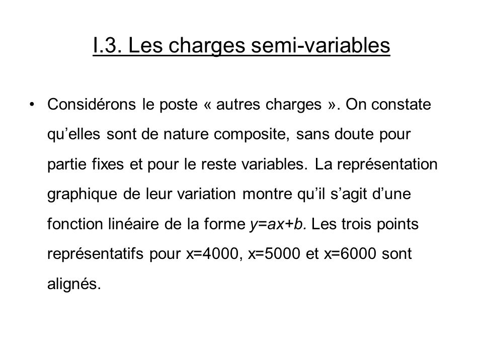 I.3. Les charges semi-variables