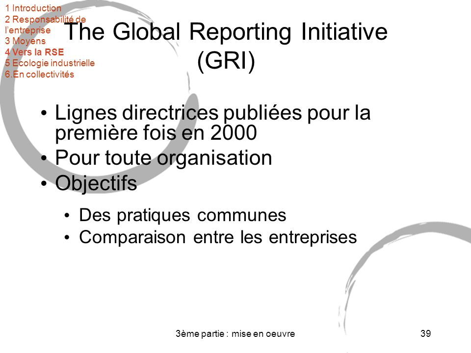 The Global Reporting Initiative (GRI)