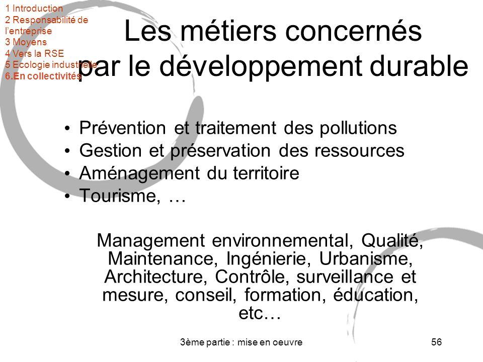 Les métiers concernés par le développement durable