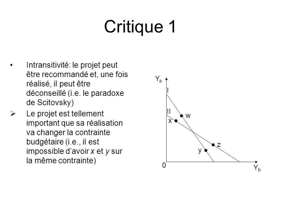 Critique 1 Intransitivité: le projet peut être recommandé et, une fois réalisé, il peut être déconseillé (i.e. le paradoxe de Scitovsky)